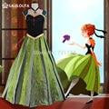 Роскошные Ручной Работы Вышивка Взрослых Принцесса Анна Костюм 2015 Плюс Размер Женщин Анна Коронация Платье Взрослых Индивидуальные Для Отдыха