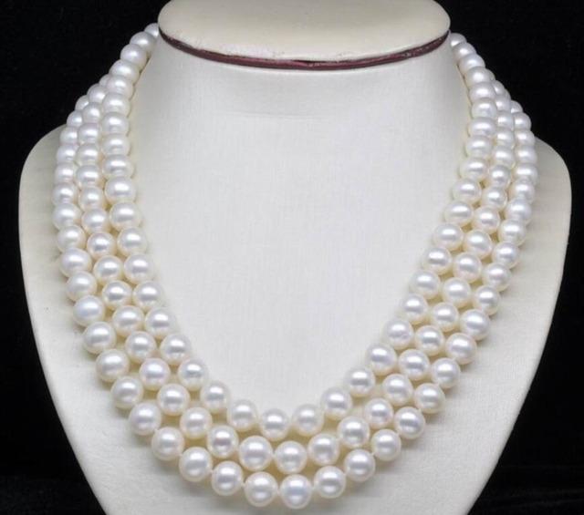 """Venda quente novo estilo >> >> > 8 - 9 MM branco cultura de água doce colares de pérolas redondas 48 """" AA"""