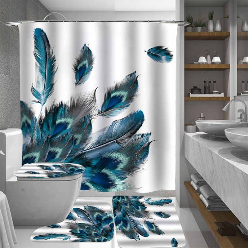 4 Pcs Peacock Feathers Waterproof Bathroom Shower Curtain Toilet Cover Mat Non-Slip Floor Mat Rug Bathroom Set with 12 Hooks