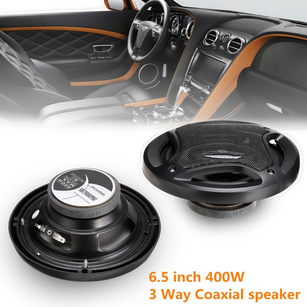 2pcs Car Speaker 6.5 inch 400W Car Subwoofer HIFI Coaxial Speaker Car Rear /Front Door Audio Music Stereo Coxial Speakers 3 Way