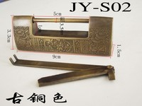 Bookcases Tongsuo / Antique Copper Lock / Chinese lock / vintage small brass lock / latch lock / cross open padlock / large Tong