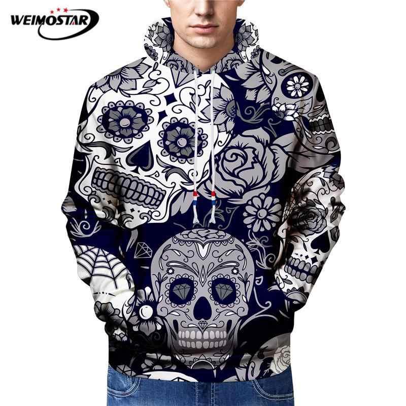 Weimostar czaszka drukowanie Hip Hop Street wear bluzy mężczyźni Kpop deskorolka bluzy z kapturem wiosna jesień fajne bluza z kapturem Dropship