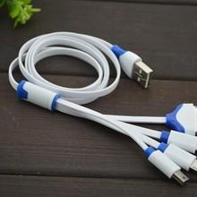 4 в 1 плоский USB Дата-кабель с кабелем 30Pin+ 8Pin+ 5Pin кабель Micro USB+ кабель Примечание 3/S5 кабель для samsung/htc/Xiaomi/huawei для мобильных телефонов iPhone 4/4S/5/5S/6 Plus