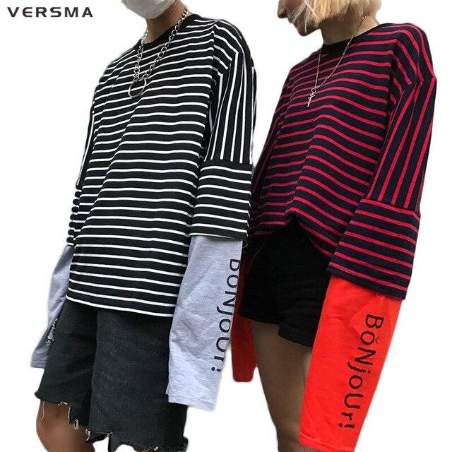 Versma 2017 Korean Harajuku Striped Fake Two Piece Printed T Shirts
