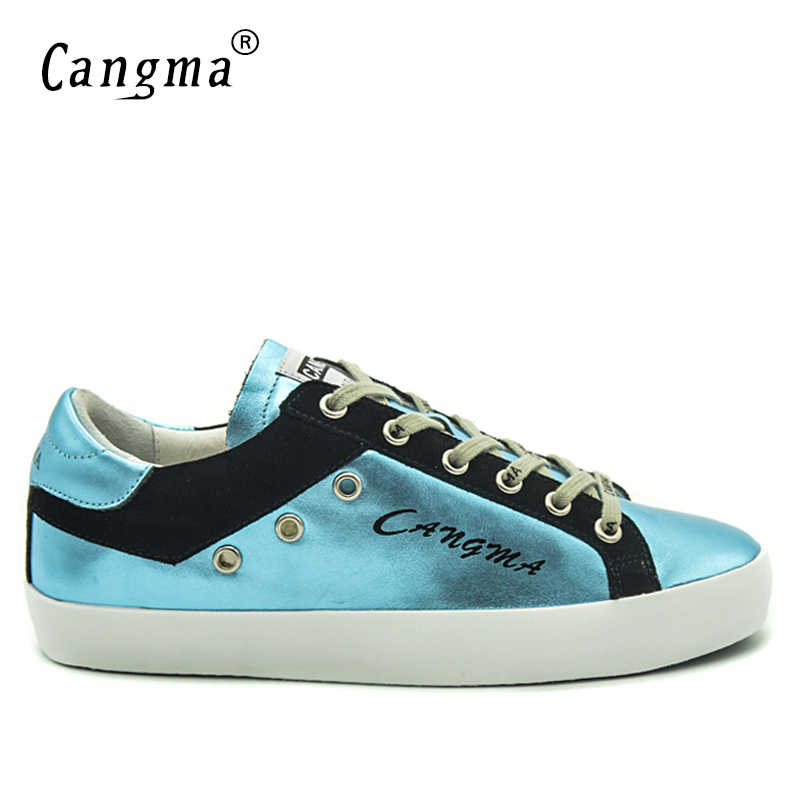 CANGMA ยี่ห้อรองเท้าผ้าใบผู้ชายรองเท้า Lace-up ของแท้หนังสีฟ้ารองเท้า Man ผู้ใหญ่โรงเรียนรองเท้า breathable Flats