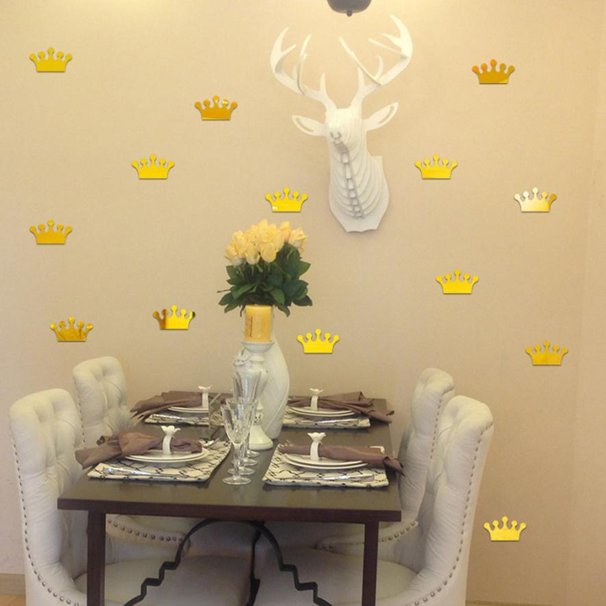 Wall stickers 3D Acrylic Mirror Wall Sticker Home Decoration Princess Crown Shape wall stickers bedroom APR20
