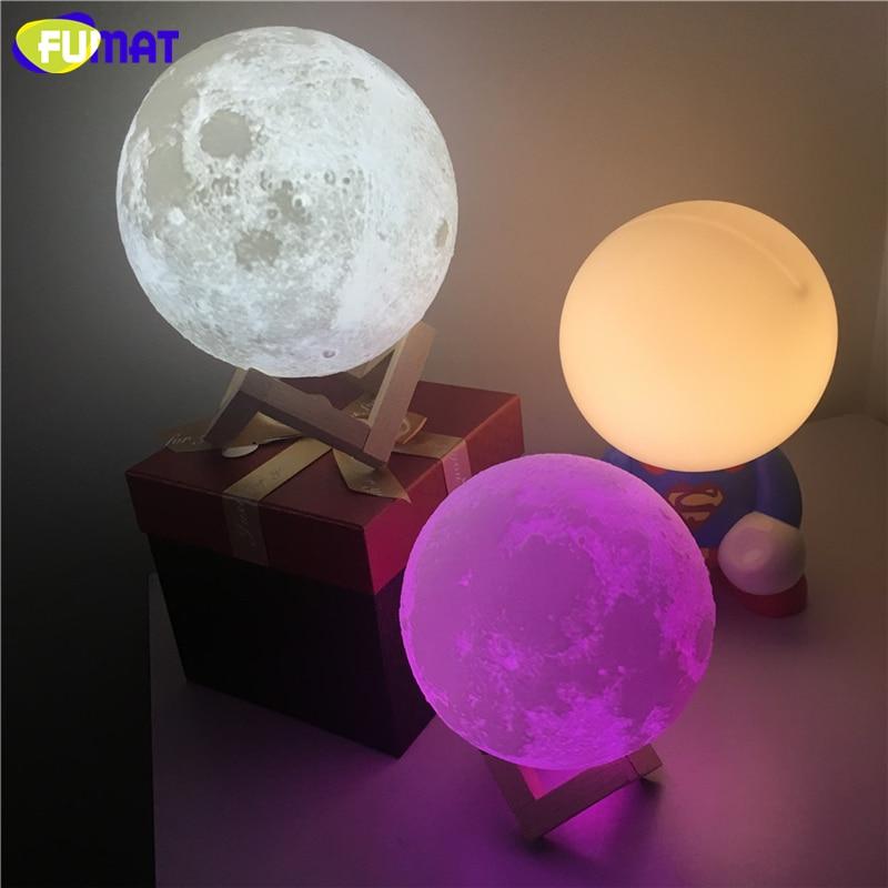 FUMAT 3D Baskı Ay Lambası Dokunmatik Algılama Anahtarı ile 3D Ay - Gece Lambası - Fotoğraf 2