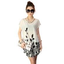 New 2017 women summer dress floral print short sleeve o neck plus size bohemian beach dresses