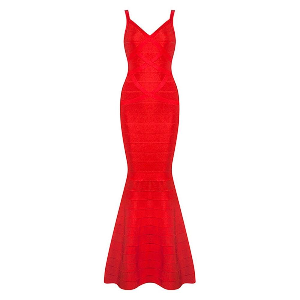 Sirène Nouvelle Bretelles Dress Fishtail Noir Longueur Bandage Noir Étage Rayonne Sexy Dames Mode 2017 rouge Bqgdgw0S