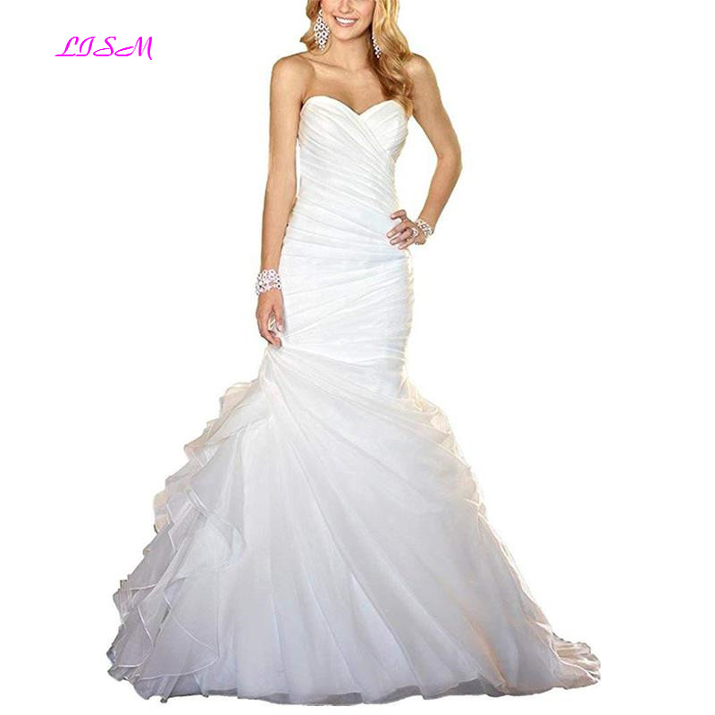 Sweetheart Mermaid Long Wedding Dresses Ruffled Sweep Train Bridal Gowns Simple Lace Up Back Vestidos Novia Custom-Made