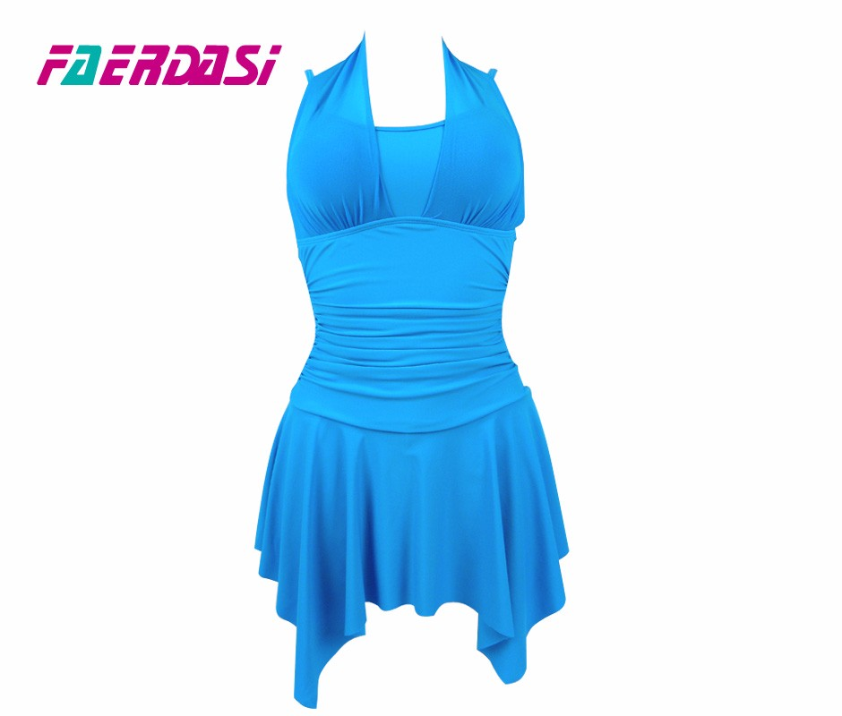 Faerdasi new monokini one piece swimsuit women bathing suit sexy Solid color backless Vintage Plus Size one piece Beach swimwear 8