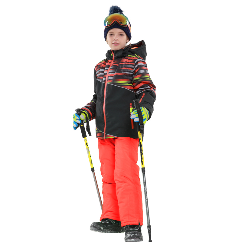 NEW 2017 Boys Winter Waterproof Windproof Ski Sets Kids Warm Ski Jacket Children Outdoor Hooded Snowboard Sports Suits 81735-36 children kids boys winter windproof padded jacket hooded jacket ski jacket high quality size 116 140