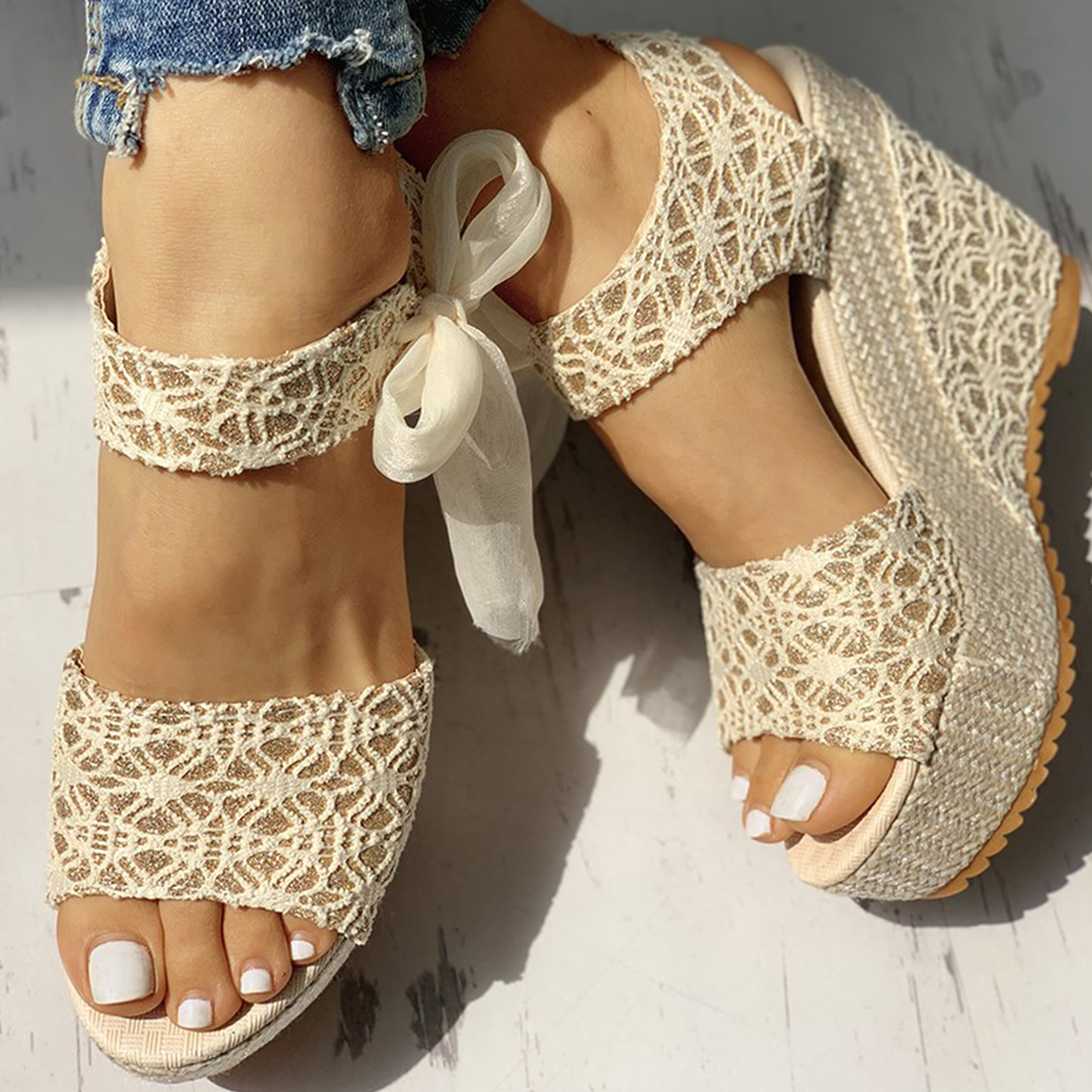 INS hot lace Leisure Women Wedges heeled women Shoes 2019 Summer Sandals Party Platform High Heels Shoes Woman