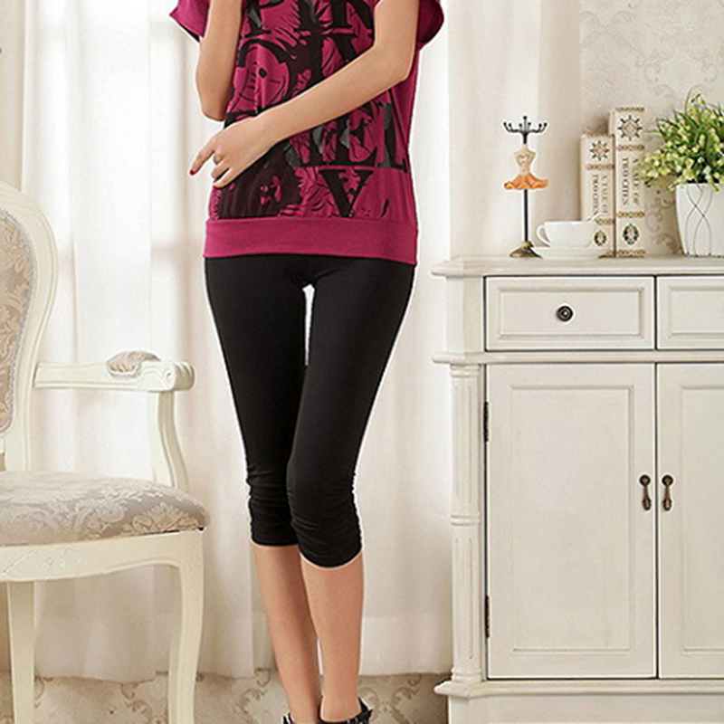 Summer Women Casual Seamless Solid Color Capri Leggings Workout Mid-Calf Thin Pants