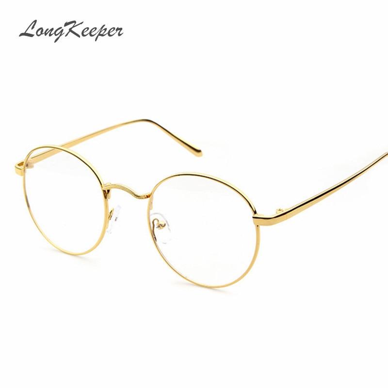 a50246090af1 wholesale price round eyeglasses black silver gold glasses frame women men  clear lens metal eyeware optical
