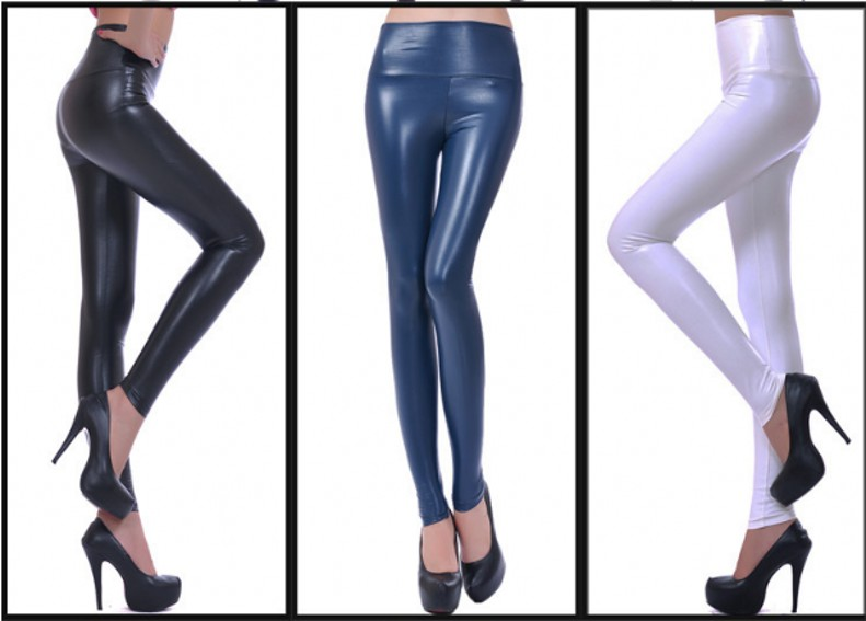 Womens PU Leather Pants High Elastic Waist Leggings Not Crack Slim Leather Leggings Fleece Trousers Women Fashion F80 53