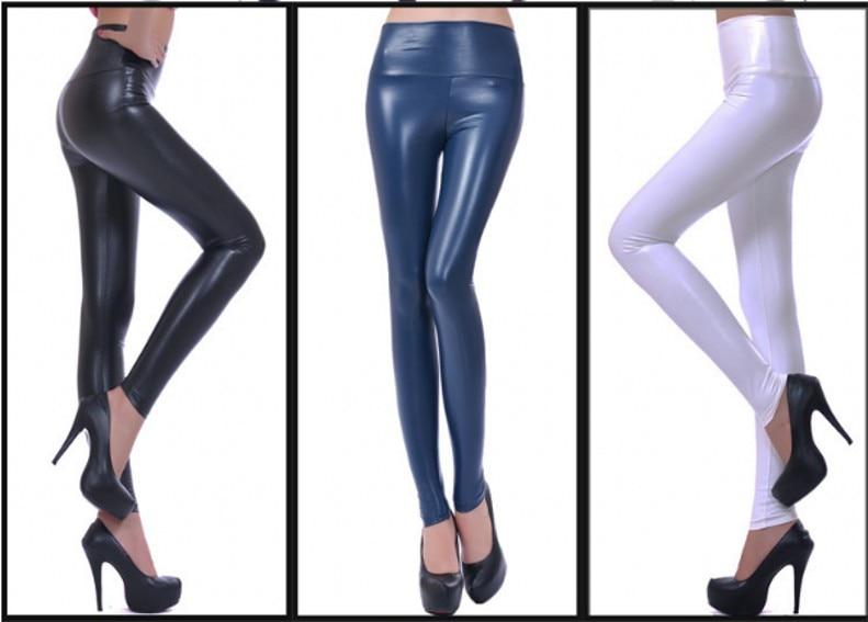 Womens PU Leather Pants High Elastic Waist Leggings Not Crack Slim Leather Leggings Fleece Trousers Women Fashion F80 19