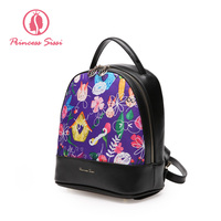 Princess Sissi Women Black Backpack Leather Children Backpacks Simple Back Bag For Teenagers Girls School Shoulder