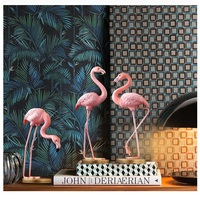 OUSSIRRO Pink Flamingo Desktop Figure Lovely Home Decoration Gift for Girls Flamingo Mini Sculpture Statue TV Stand Decoration