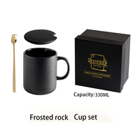 Black Ceramic Mugs Vintage Japanese Large Travel With Lid Big Cup With Spoon Mug Espresso Japonais Eco Friendly Products 30M042