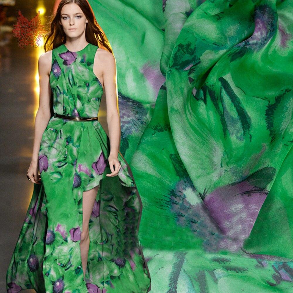 3e3d50620bb Зеленый с фиолетовым принтом бабочки 100% шелковая шифоновая ткань для  платья чистая шелковая ткань мм