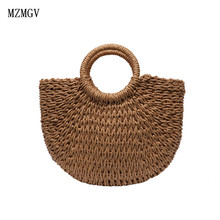 New summer handmade bag ladies beach woven straw wrapped moon-shaped Bohemian shopping