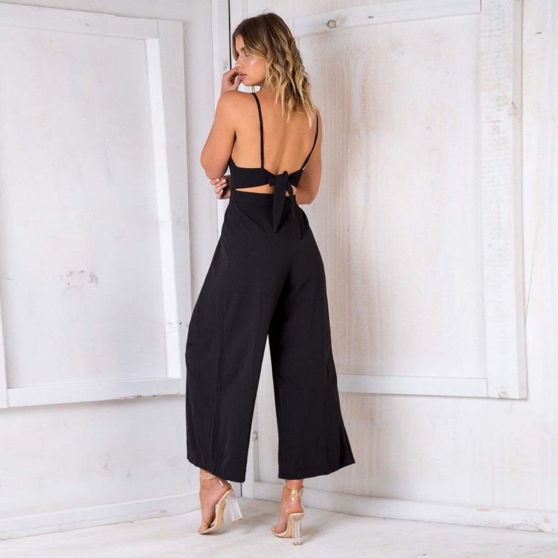 Black Sexy Sling Backless Bow Rompers Womens Jumpsuit Elegant Deep O Neck Wide Leg Loose Playsuit Summer Casual Women's Overalls