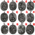 Beautiful Natural Black Obsidian Hand Carved Anciet Twelve Chinese Zodiac Lucky Amulet Pendant + beads Necklace Fashion Jewelry