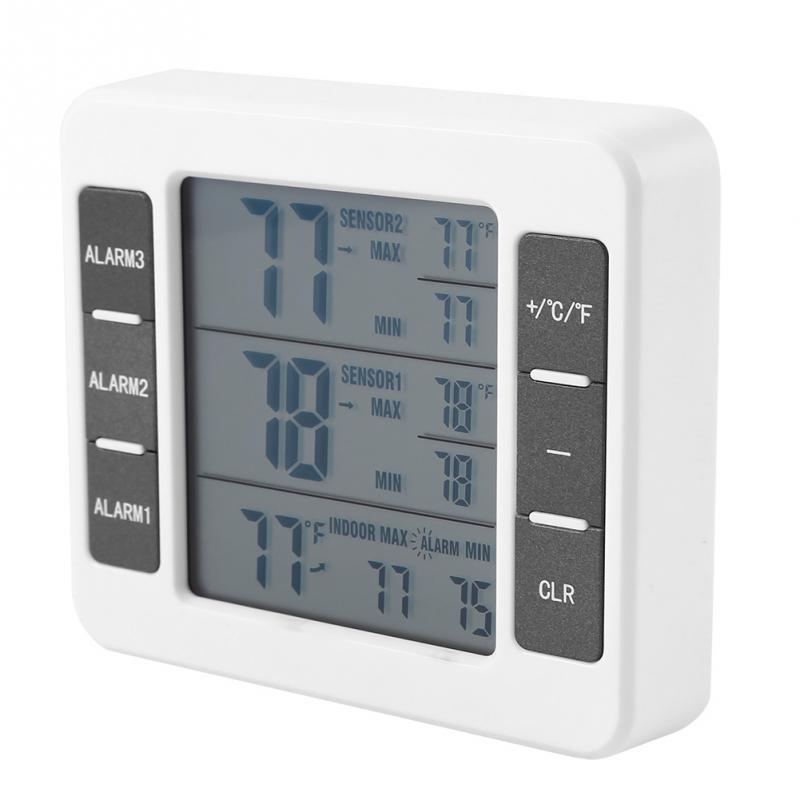 ЖК дисплей экран беспроводной цифровой звуковой сигнал холодильник термометр с 2 шт. сенсор мин/Макс дисплей Крытый Открытый термометр