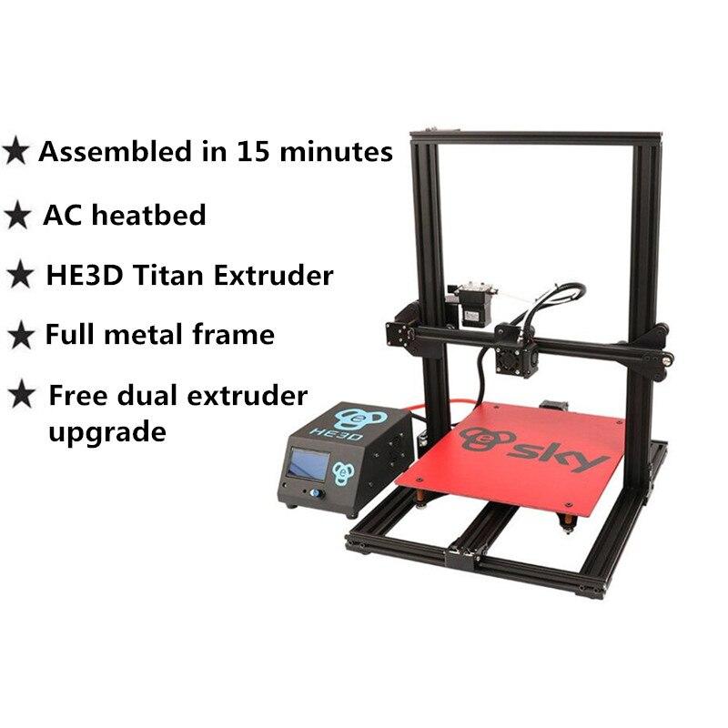 HE3D céu 3D Extrusora de Impressora pré-montado com Titan Full Frame de Alumínio tamanho Grande 300*300*400mm impresora 3d kit de impressora