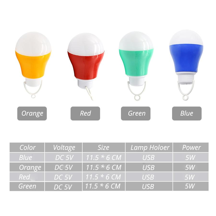 Лампочка USB свет разноцветные ПВХ экологическая лампа 5 V 5 W Портативный светодиодный лампы usb-лампы для Пеший туризм для походов