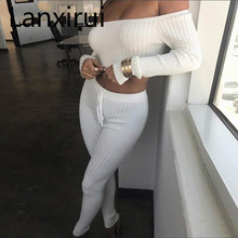 New Sexy Cotton Two Pieces Set Women Club Wear Slash Neck Crop Tops And Pencil Pant Long Sleeve Outfits