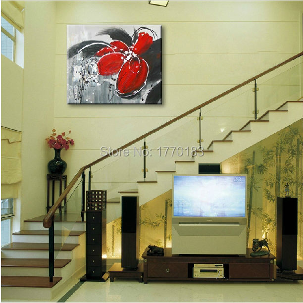 hand made abstract white black red flower oil painting single canvas ...