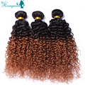 Mongolian Kinky Curly Hair Two Tone 1B/30 4Pcs/Lot Human Virgin Hair Rosaqueen Hair Products Ombre Hair Extensions Free Shipping