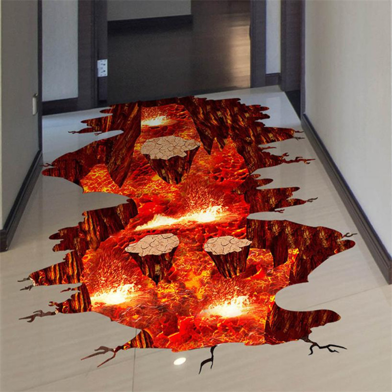 3d magma wall sticker removable mural decals vinyl art for Sticker mural 3d