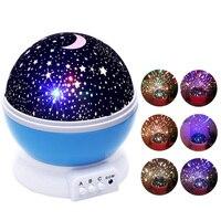 AGM Starry Sky LED Night Light Star Moon Projector Novelty Table Lamp Luminaria Rotary Flashing Romantic