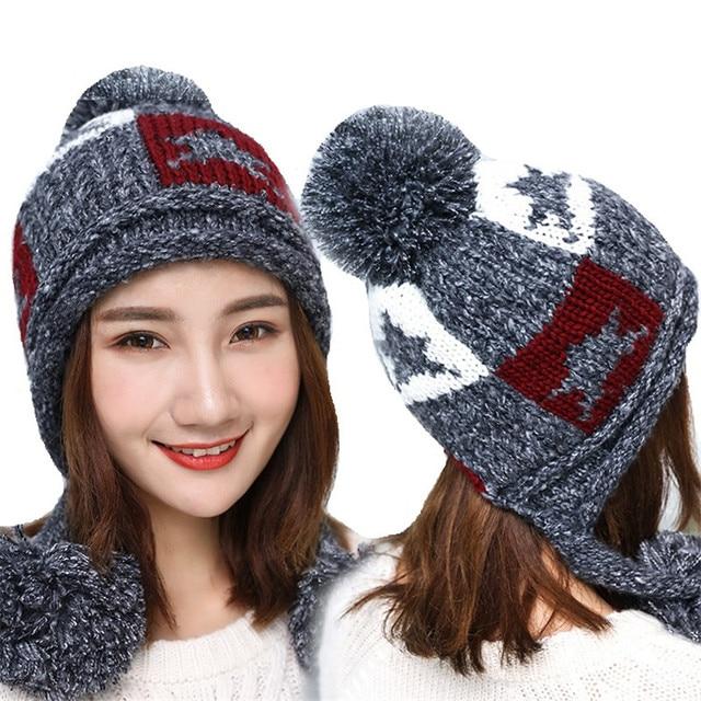 818e9be13 US $11.99  Aliexpress.com : Buy New Winter Fashion Women's Hat Thick Star  Hat Plus Velvet Pom Pom Hat Female Tide Cap Ladies Knitted Cap Women  Beanies ...