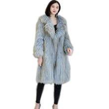 Real muticolor Fox Fur Coat Women Long Natural Female Knitted  Genuine Overcoat For Ladies Luxury Suit collar coat