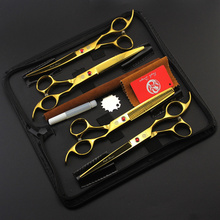 Brand Pet Grooming Scissors Set 7 Inch Professional Japan 440C Dog Shears Hair Cutting +Curved+ Thinning Scissors With Bag 4pcs