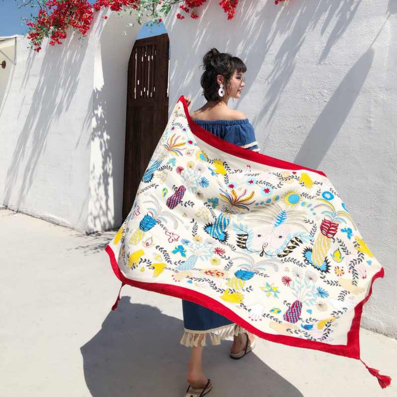 KYQIAO Women Scarf Foulard Femme Female Autumn Spring Spain Style Luxury Brand Elegant Boho Long Print Head Scarf