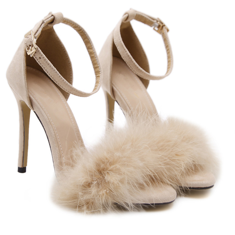 Women Fur Sandals 2017 New Fashion Plush Fish Mouth Women's Shoes High Heels 11cm Sandals Size 34-43 Cross Border Lady Summer the new type of diamond mother sandals lady leather fish mouth flowers with leather high heeled shoes slippers women shoes