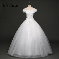 It S YiiYa Off White Sleeveless Boat Neck New Wedding Dresses Flower Pattern Squined Appliques Luxury