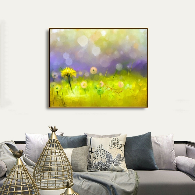 Abstract Yellow Flowers Posters and Prints Graffiti Light Bokeh Paint Canvas Painting Artwork Pictures For Home Bedroom Decor