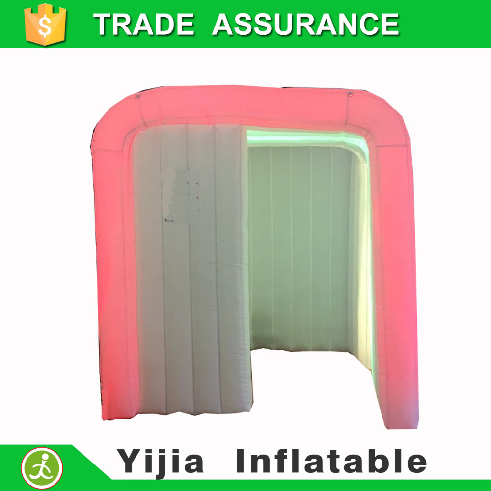 Color booth online - White Color 2 Doors 3 Led Strips Brightest Inflatable Photobooth Air Photo Booth China