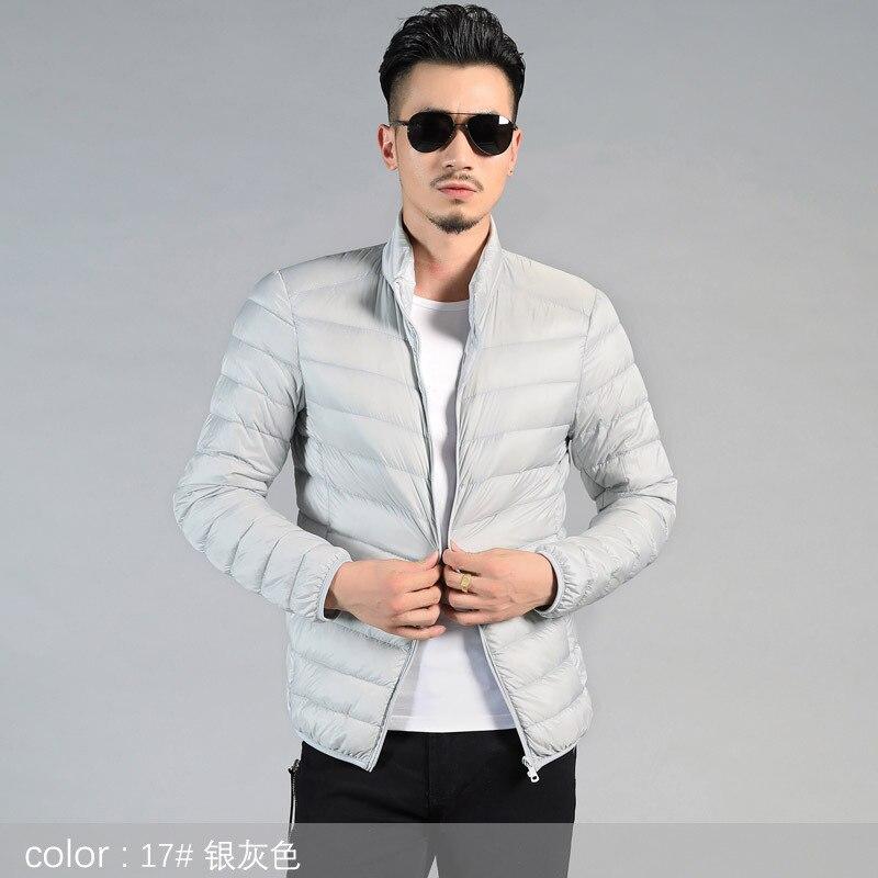 Winter Duck   Down   Jacket Men Autumn Winter Warm Fashion Mandarin Collar Long Sleeve Casual Lightweight Duck   Down     Coat   Men 4XL