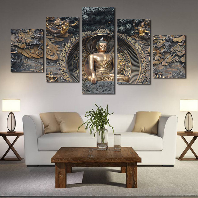 5 Pieces/set Buddha Statue Wall Art Pictures For Home Decoration Panels  Abstract Painting Print