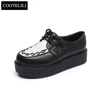 COOTELILI 35 39 Spring Casual Harajuku Women Shoes Flat Platform Lace Up Retro Girls Shoes Solid