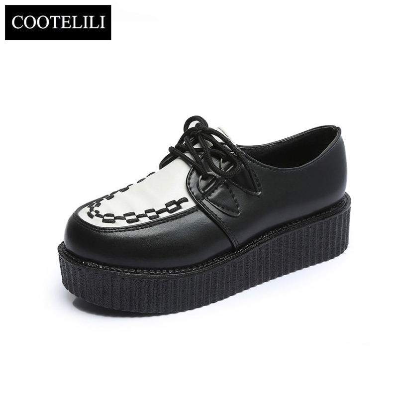 COOTELILI 35-41 Spring Casual Harajuku Women Shoes Flat Platform Lace-Up Retro Girls Shoes Solid Round Toe Leisure Single Shoes