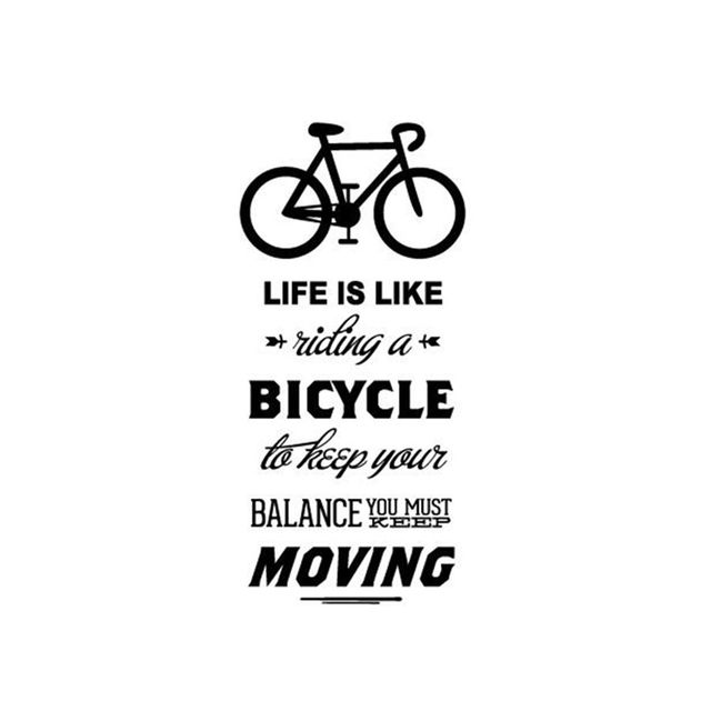 life is like riding a bicycle quote bike wall sticker diy cycling