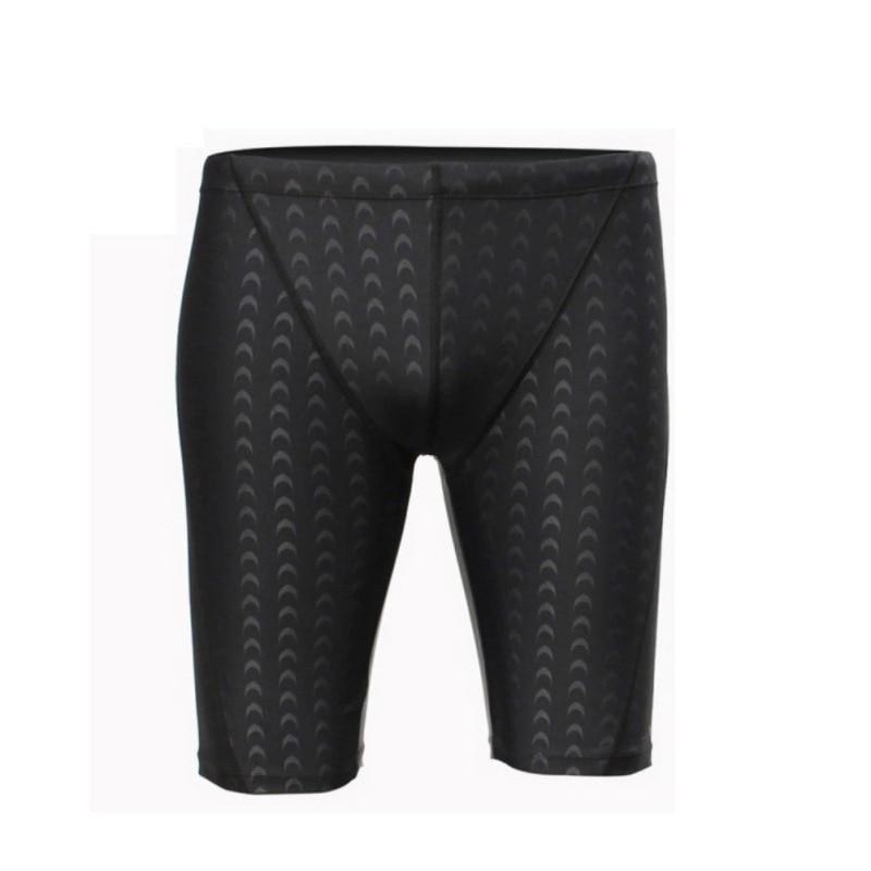 Men Professional Competitive Swim Trunks Shark Skin Swimwear Solid Jammer Swimsuit Fifth Plus Size Pant